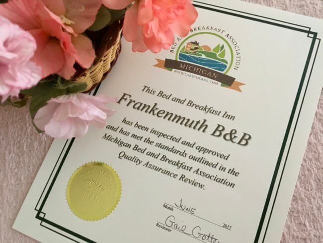 Quality assurance review certificate received by Frankenmuth B&B.