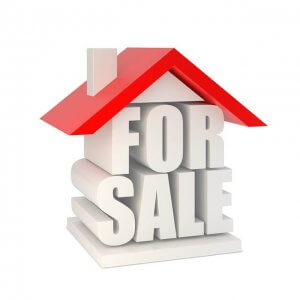 Graphic of a house consisting of a 3D For Sale sign