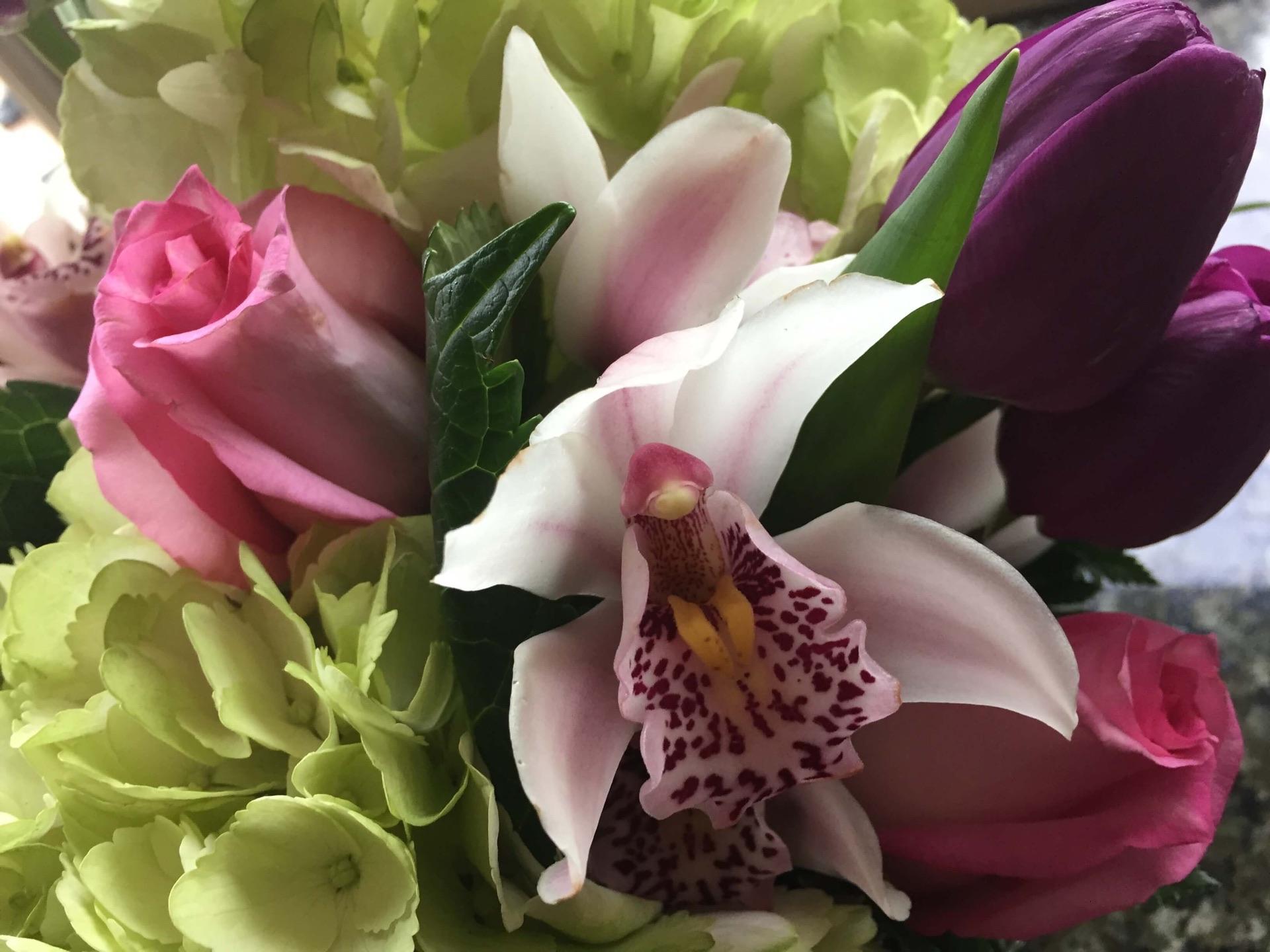A lush mixed flower arrangement