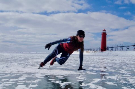 Ice skater on Lake Michigan at Grand Haven pier