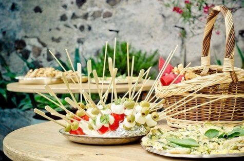 Buffet table at an event