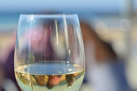 glass of white wine close up