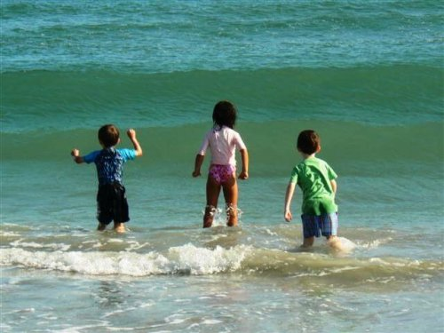 Children swim in Lake Michigan near Glen Arbor B&B