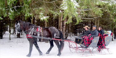 Sleighrides popular in winter near Kingsley House