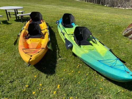 Tandem kayaks available at House on the Hill B&B