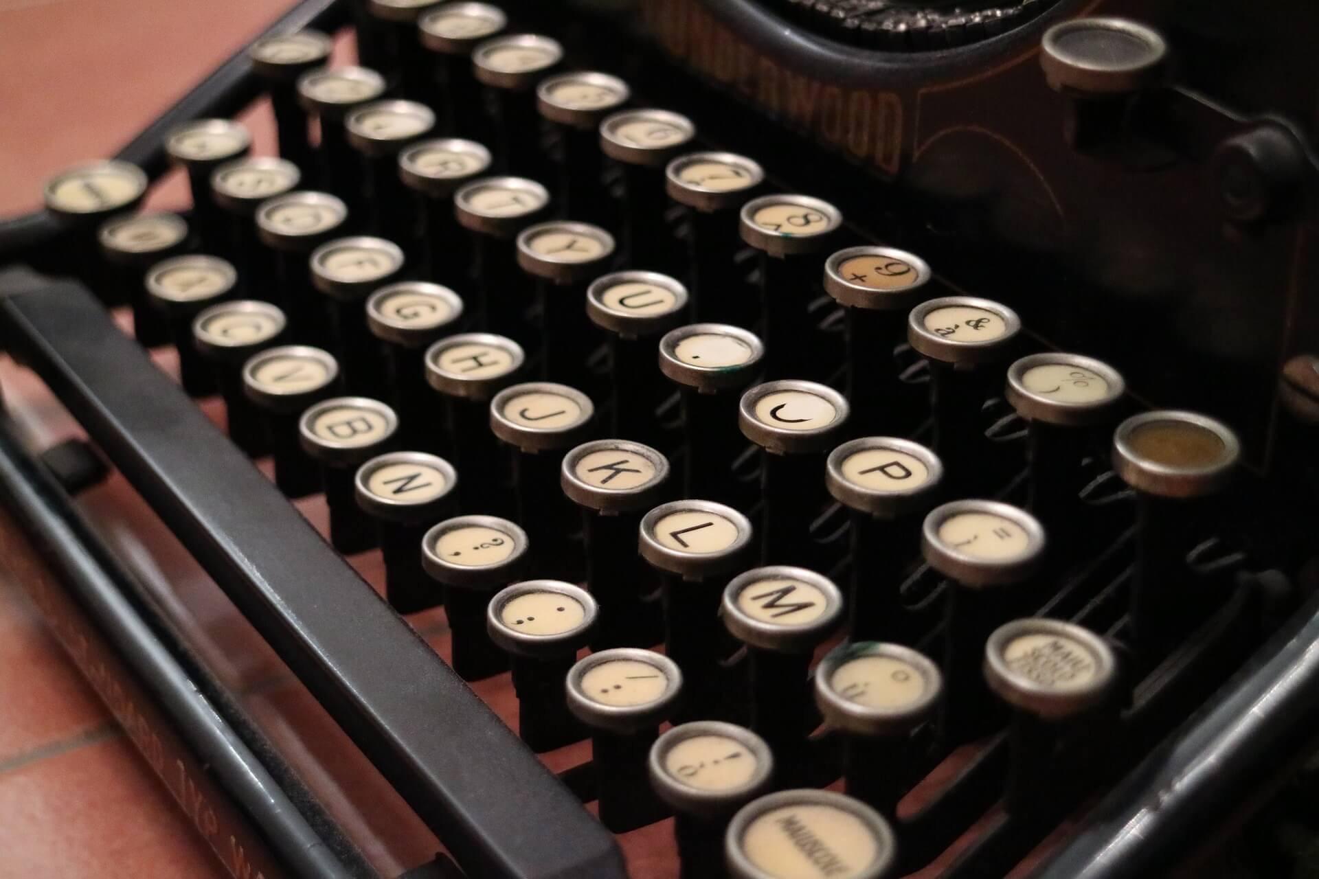Closeup of keys of an old typewriter