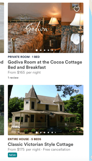 A screenshot showing two listings on airbnb
