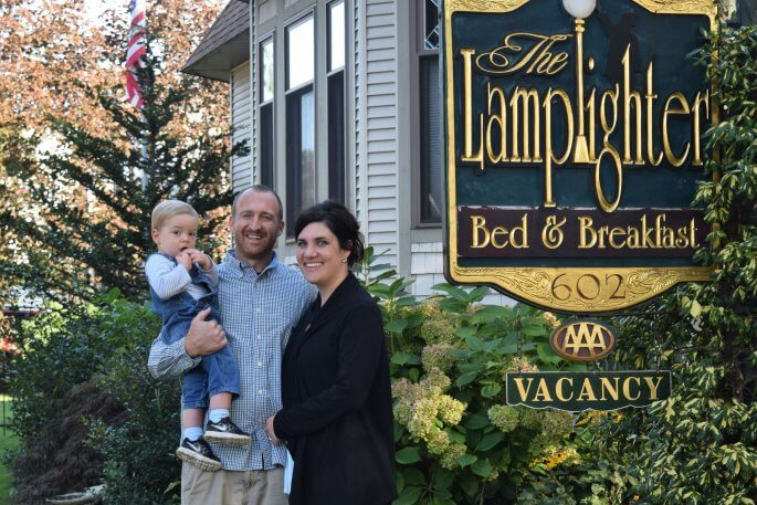Dan, Jen and baby Jacob Hinderer at Lamplighter B&B in fall 2017.