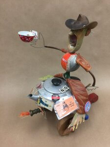 Mixed-media assemblage at Tamarack Gallery, a popular Up North Michigan gallery