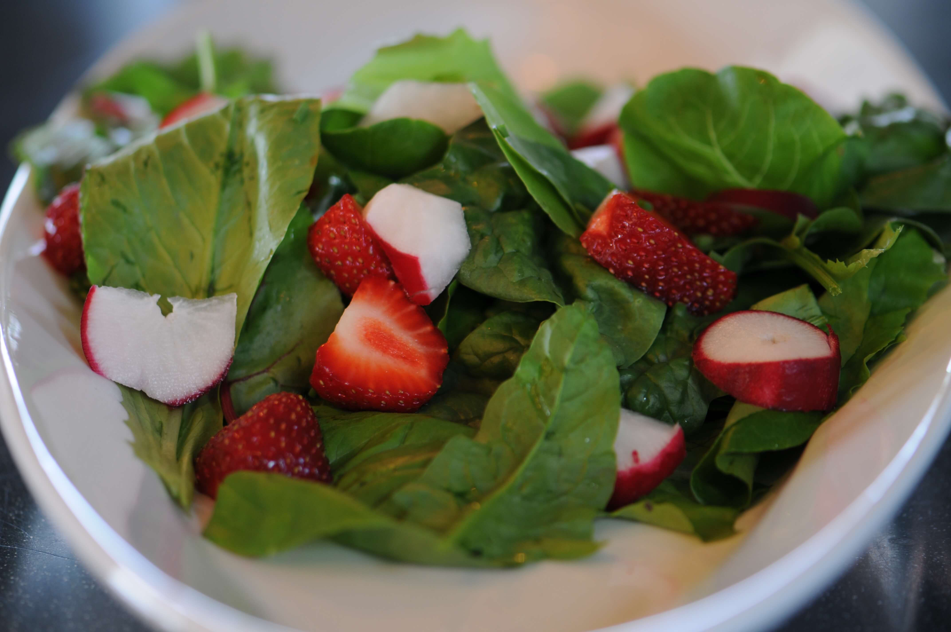 Fresh strawberry and radish salad served at Farmhouse B&B in Gladstone