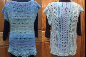 Sweater two ways, horizontal pattern and vertical