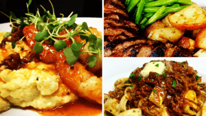 Montage of three photos of dinner entrees