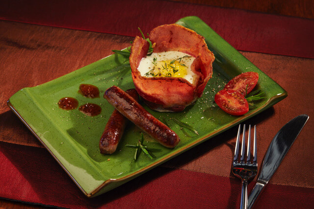 Bacon basket with egg as served at Sherwood Forest B&B.
