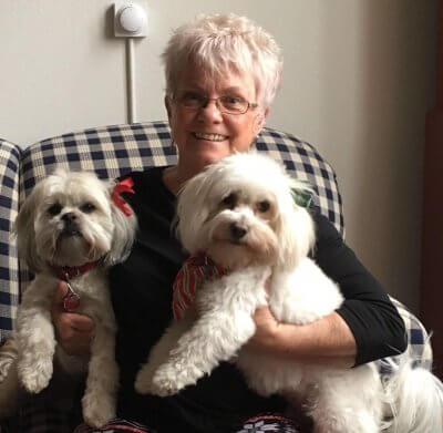 Hankerd Inn innkeeper Janet Rochefort with her two dogs
