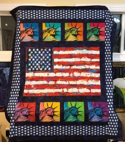Patriotic quilt top the innkeeper made to benefit veterans.