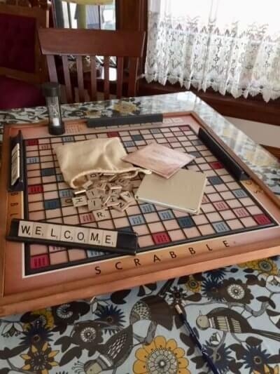 Many guests enjoy this oversized Scrabble game at Washington Street Inn.