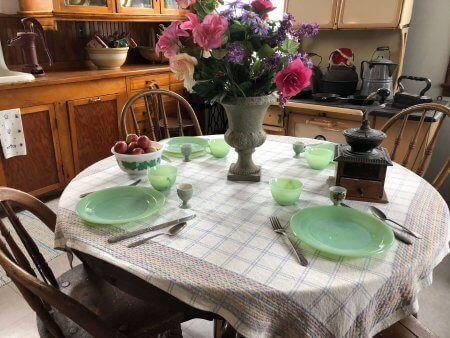 Kitchen set for four persons at Seul Choix Point Lighthouse. Photo by Dianna Higgs Stampfler.