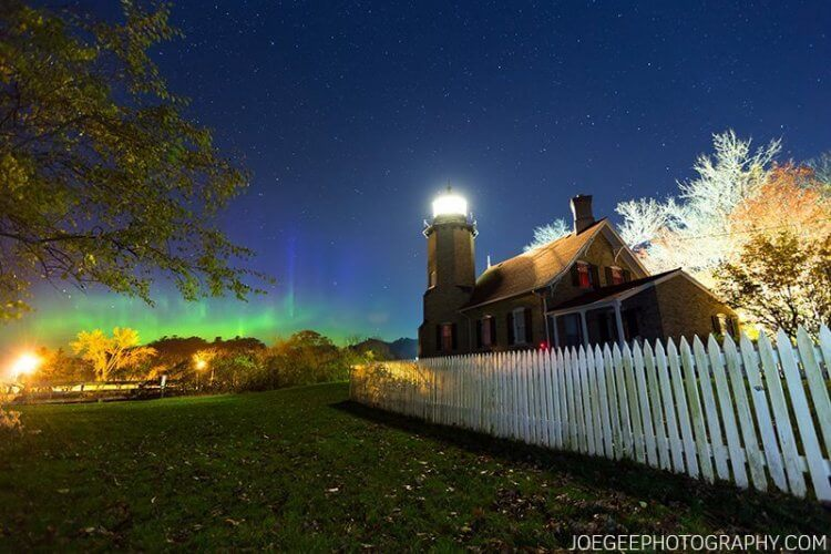 Northern lights seen over White River Light Station, as featured on 2017 Muskegon/Lake Michigan calendar.