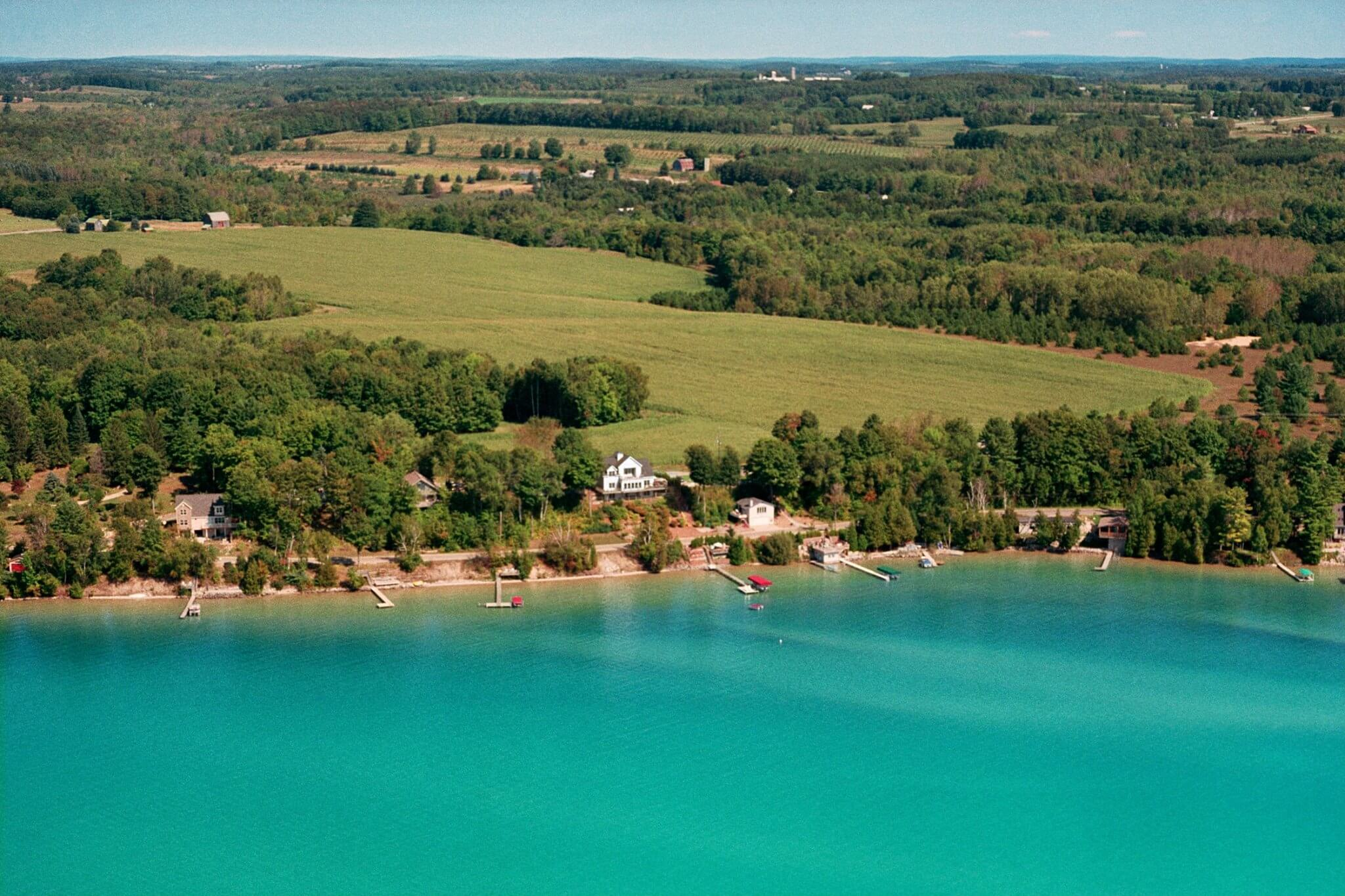 Aerial view of Torch Lake B&B