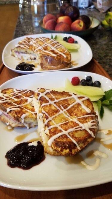 Plated breakfast sandwich