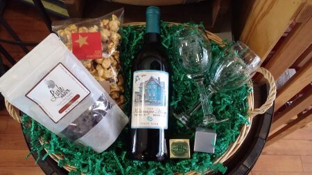 Custom wine and snack basket available as an add-on to Kalamazoo House guests