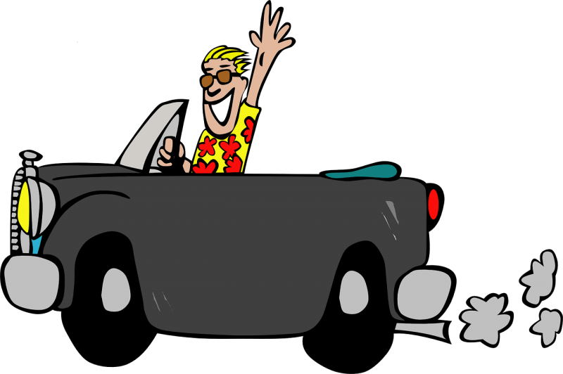 Cartoon of a man in a car. He's wearing a Hawaiian shirt.