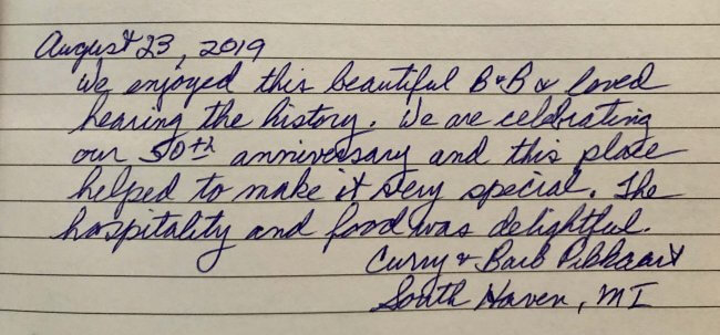 Snippet from guestbook at Grand Victorian B&B Inn in Bellaire
