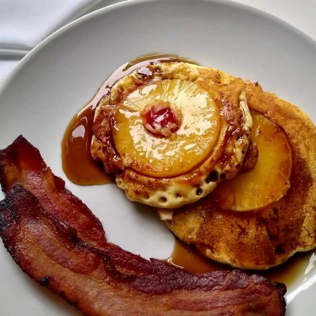 Pineapple upside-down pancakes served at Nordic Pineapple B&B, one of 12 Michigan B&Bs you need to try.