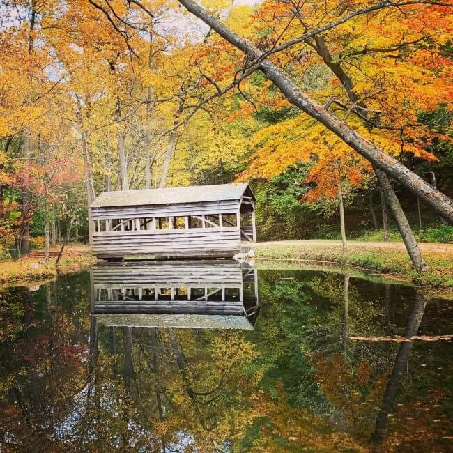 Covered bridge and pond at The Morris Estate with leaves in autumn colors