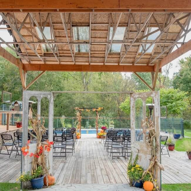 Open-air wedding chapel at Oak Creek Lodge, one of 12 Michigan B&Bs you need to try.