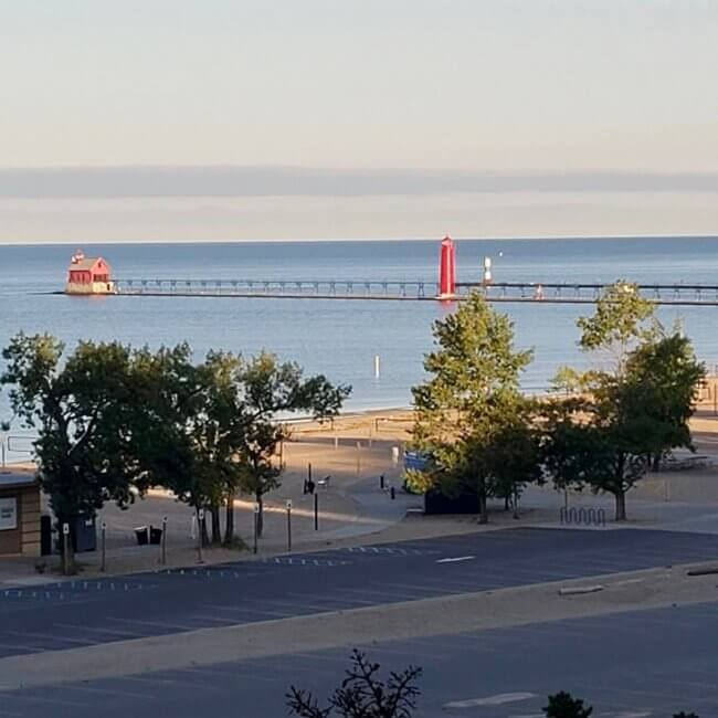 View of lighthouses in Grand Haven from the patio of Looking Glass B&B.