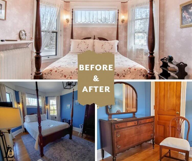 Before and after photos of the Rose Room, now called the Carpenter Room, at Lamplighter B&B in Ludington
