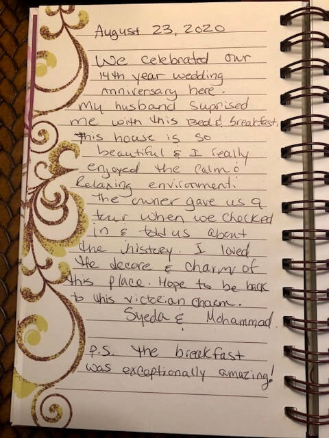 Guest book entry by first-time B&B guests Sayeda and Mohammed at Kalamazoo House.