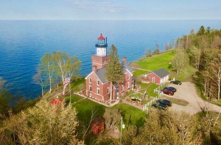 Aerial of Big Bay Point Lighthouse B&B