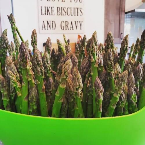 Asparagus in the kitchen at Hart House B&B