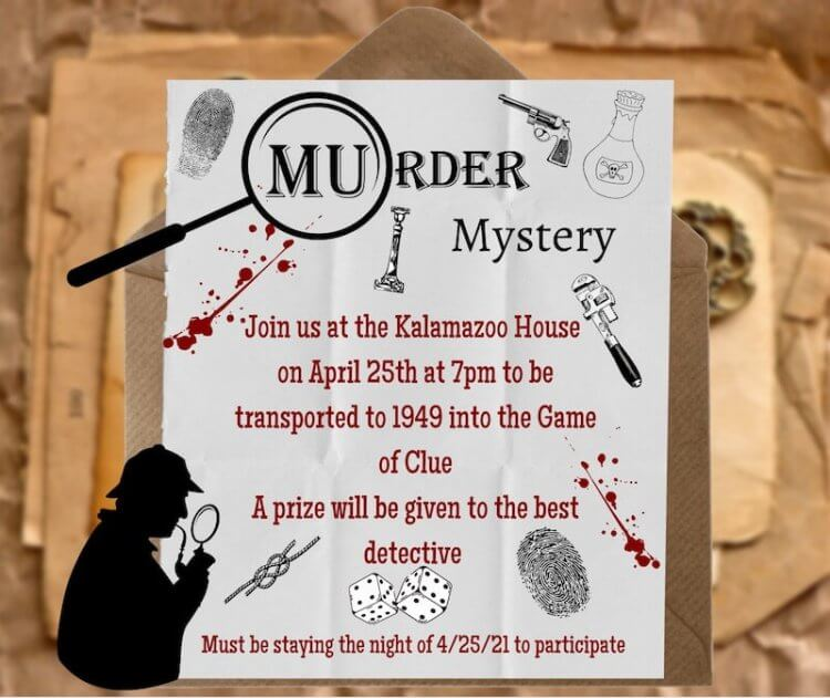 Poster advertising the Murder Mystery event=