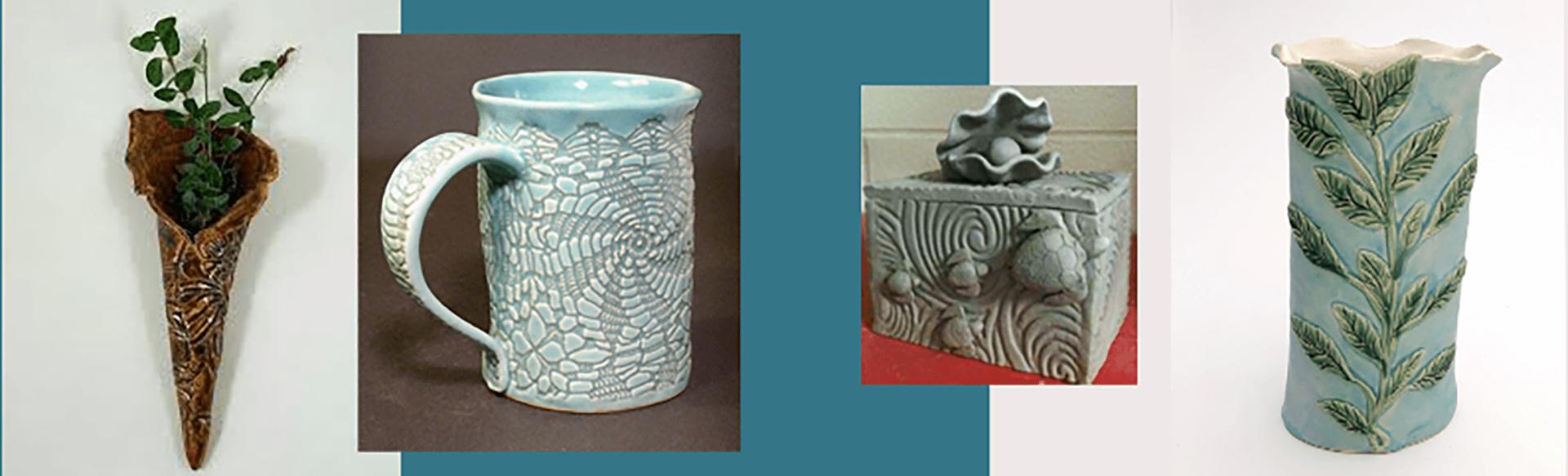 wall sconce, mug, covered jar, vase