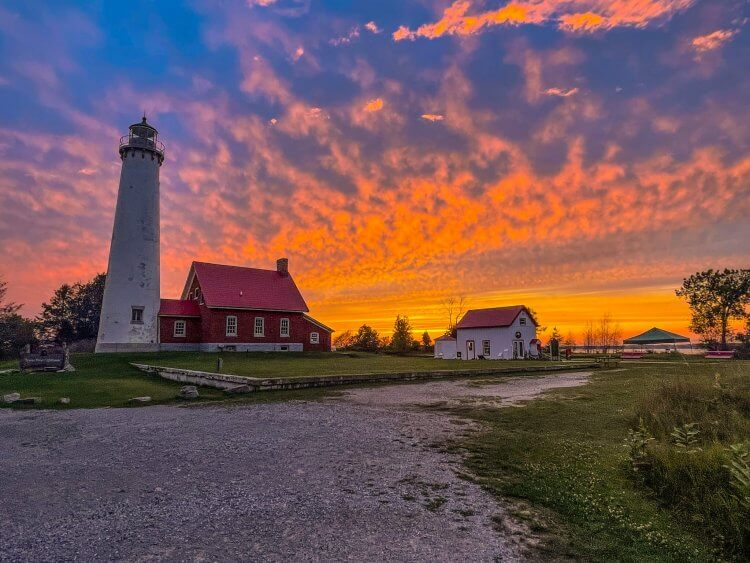 Glorious sunset at Tawas Point Lighthouse