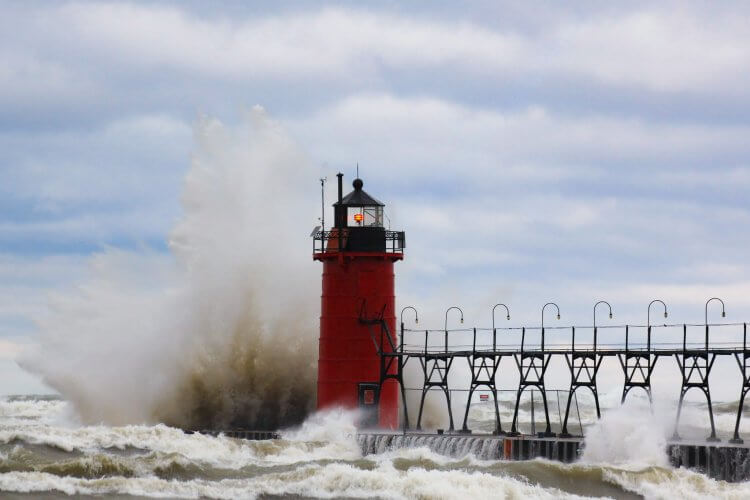 High Lake Michigan waves blast the South Haven South Pier Light