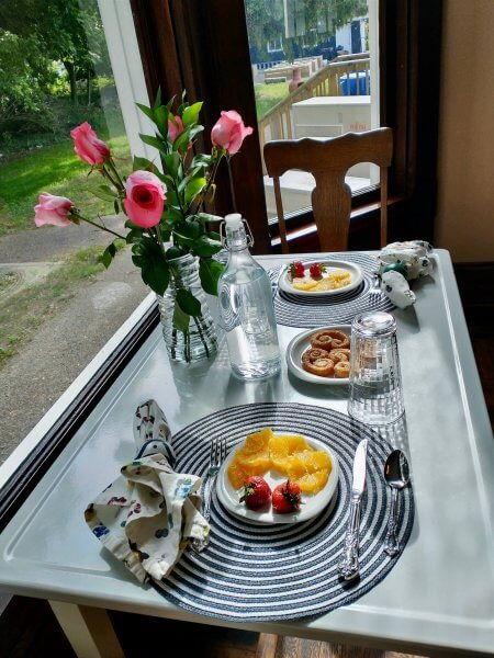 Breakfast table for two.
